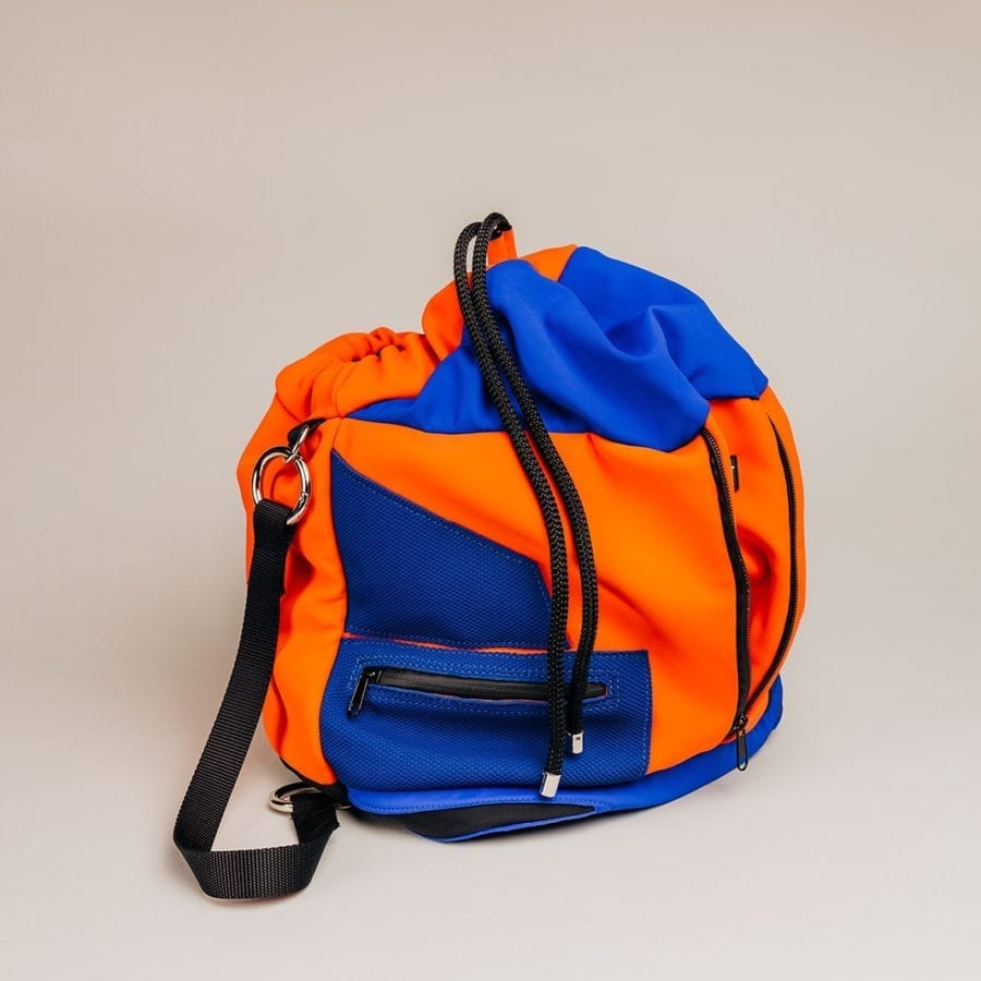 Honey Bag Bee&Smart Seau Soho - Sac pliable en Néoprène Bleu et Orange